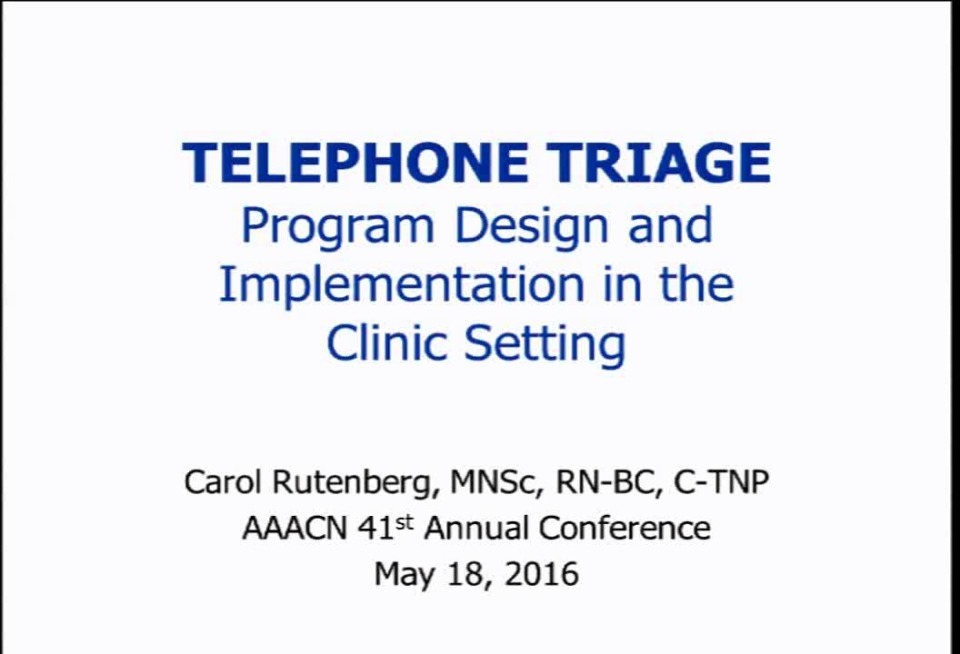 Telephone Triage Program Design And Implementation In The